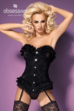 baletti - Superbe corset réglables en tissu élastique et dentelle au motif fleuri signé Obsessive Lingerie.