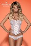 Corset blanc Melidia - Splendide corset blanc (et son string assorti)avec bretelles détachables de la marque de lingerie Obsessive.