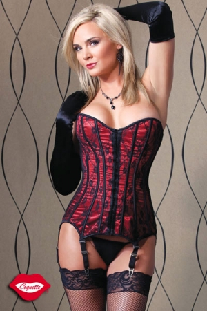 Corset Red Delice : Corset en satin et voile de dentelle, un bustier précieux pour séductrice romantique.