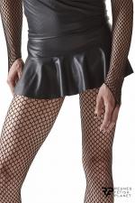 Mini jupe taille basse noire - Regnes - Mini jupe en wetlook pour laisser entrevoir le bas des fesses.