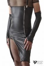 Robe zippée à bretelles amovibles - Regnes - Superbe robe en tissu wetlook avec des fermetures éclair argentées et des bretelles ayant la particularité d'être amovibles.