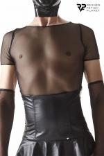 T-shirt en résille noire - Regnes - T-shirt fabriqué en résille élastique noire. Idéal pour porter avec les accessoires de la collection Cross Dresser.