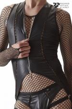 Body ouvert à zip - Regnes - Body noir en tissu brillant dessiné pour les hommes par la marque Européenne Regnes.