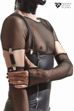 Gants longs en maille noire avec bretelles - Regnes - Accessoires parfaits pour agrémenter vos tenues Cross Dresser, ces gants sont fabriqués en Europe.