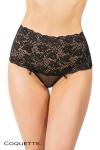 String Panty dentelle - noir - Un mix plein d'élégance entre un string tulle, et une large ceinture culotte en dentelle.