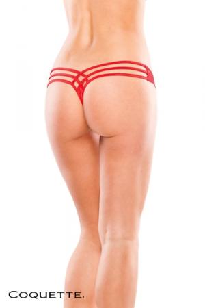 String � lani�res - Rouge : String fantaisie avec un motif sensuel dessin� par les lani�res qui s'entrecroisent sur les fesses.