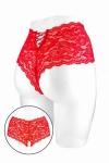 Boxer ouvert Julia - rouge - Boxer coquin rouge, échancré et ouvert entre les cuisses, par Fashion Secret.