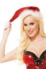Bonnet de Noel sequins Santa - Bonnet de Noël surbrodé de sequins rouges brillants, avec bordure et pompon de douce fourrure blanche.