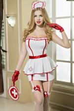 Déguisement sexy infirmière 8 pièces - Guêpière et porte-jarretelles de rigueur pour cette tenue d'infirmière ultra sexy qui affolera les sens de tous ses patients.
