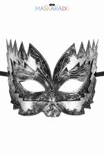 Masque semi-rigide argenté Don Giovanni - Masque argenté semi rigide et haut pour jouer les Don Juan en toute discrétion, par Maskarade.