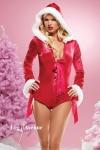 Combi-short Noël Diamant Rouge - Combi-short à capuche pour Mère-Noël... ultra sexy !