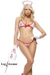 Costume d'infirmière Bedside Betty - Tenue d'infirmière bikini avec coiffe et gants.