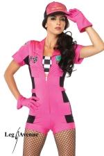Costume rallye Pit Crew - Costume Pit Crew : combishort zippé, top bandeau à damier, gants, casquette.