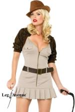 Costume aventurière Miss Indy : Costume d'aventurière comprenant la robe, le boléro, la ceinture et le fouet.