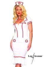 Costume Infirmière Miss Diagnosis - Robe d'infirmière cintrée et sa coiffe assortie.