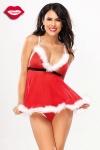 Costume Mère Noël Glam - Un costume de Mère Noël tout doux avec ses bordures en marabou, et très très sexy !