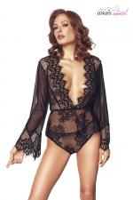 Ensemble dentelle Libby noir - Anaïs - Ensemble de lingerie top manches longues et culotte en tulle et dentelle.