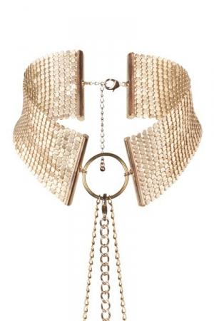 Collier désir métallique doré - Collier métallique doré ambiance porno chic et BDSM soft, collection Désir Métallique, par Bijoux Indiscrets.