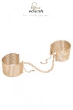 Menottes désirs métalliques dorées : Des bracelets originaux en métal doré qui se transforment en menottes dans l'intimité.