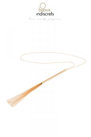 Collier Fouet en chainettes métalliques dorées