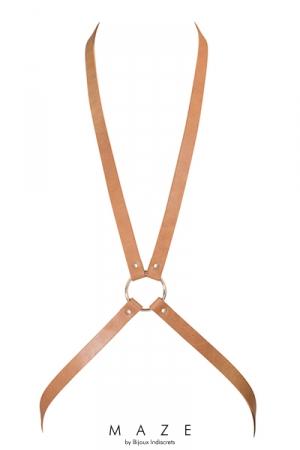 Harnais 8 marron - Maze  - Harnais d'inspiration BDSM (coloris marron), en forme de 8, à porter sur ou sous vos vêtements, en matière 100% Vegan.