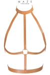 Harnais H marron - Maze - Le harnais H est un harnais d'inspiration BDSM, à porter sur ou sous vos vêtements, en matière 100% Vegan (coloris marron).