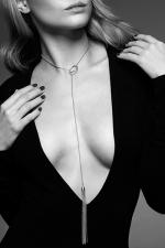 Collier métallique argenté avec franges - Un collier en métal avec un mini fouet à son extrémité, pour un look sexy et branché, mais aussi pour enflammer vos jeux érotiques.