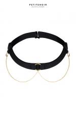 Collier Choker chaînes dorées - Collier Choker tour de cou, avec trois anneaux reliés à de fines chaînes dorées.