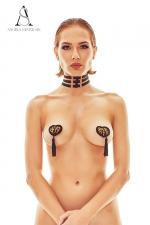Collier harnais Ritmo - Angels Never Sin - Collier fantaisie fetish formé de trois bandes ajustables reliées par des petits anneaux dorés.