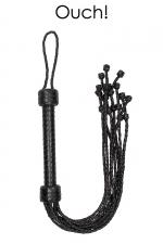 Fouet court 9 lanières - Ouch! - Fouet court en cuir noir tressé avec 9 lanières à double tressage pour procurer des sensations ultimes, par Ouch!