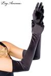 Gants longs de soirée - Gants longs noirs de soirée, très élégants avec leur texturée satinée.