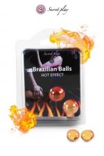 2 Brazillian balls effet chaleur  - La chaleur du corps transforme la brazilian ball en liquide glissant à effet chaud, votre imagination s'en trouve exacerbée.