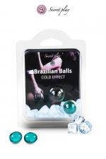 2 Brazilian Balls effet frais  : La chaleur du corps transforme la brazilian ball en liquide glissant à effet frais, votre imagination s'en trouve exacerbée.