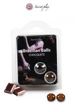 2 Brazilian Balls - chocolat - La chaleur du corps transforme la brazilian ball en liquide glissant au parfum chocolat, votre imagination s'en trouve exacerbée.