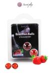 2 Brazillian balls - fraise - La chaleur du corps transforme la brazilian ball en liquide glissant au parfum fraise, votre imagination s'en trouve exacerbée.