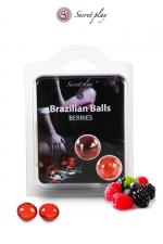 2 Brazillian balls - baies rouges - La chaleur du corps transforme la brazilian ball en liquide glissant au parfum de baies rouges, votre imagination s'en trouve exacerbée.