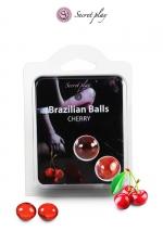 2 Brazilian Balls - cerise - La chaleur du corps transforme la brazilian ball en liquide glissant au parfum de cerise, votre imagination s'en trouve exacerbée.