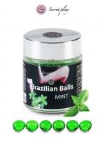 6 Brazilian Balls - menthe - La chaleur du corps transforme la brazilian ball en liquide glissant au parfum menthe, votre imagination s'en trouve exacerbée.