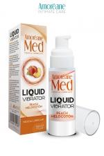 Lubrifiant Liquid Vibrator  Pêche 30ml - Amoreane Med - Gel lubrifiant médical à base d'eau avec effet vibrant, parfumé à la pêche, par Amoréane Med.