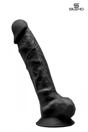 Gode double densité noir 23 cm - Modèle 1 : Gode réaliste noir de 23 x 4,4 cm, à double densité et mémoire de forme, en silexpan pour des sensations plus réelles.