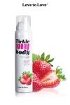 Mousse massage crépitante - fraise - Cosmétique érotique spécial massages sensuels parfum fraise.