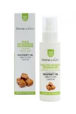 Huile de massage gourmande BIO Caramel - Divinextases - Huile de massage gourmande caramel beurre salé 100% bio, fabriquée en France par Divinextases.