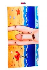 Serviette de bain Zizi - Serviette de bain humoristique et coquine avec impression sur une face de l'entre-jambes d'un homme particulièrement gâté par la nature.
