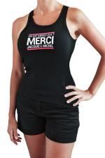 Débardeur Femme J&M (taille XL) : Débardeur femme, noir, classique J&M affichant le célèbre slogan: On dit merci qui? Taille XL.