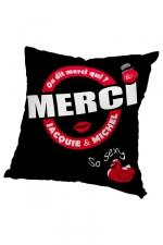 Housse de coussin 60x60 J et M - noir : Housse de coussin 60 x 60 cm, coloris noir et rouge, par Jacquie et Michel.