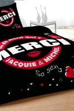 Parure de couette J et M 240x220 cm - noir : Qui de mieux que Jacquie et Michel pour décorer votre lit d'un message coquin et sans tabou?