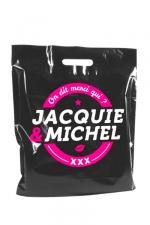 Sac Jacquie et Michel : Sac plastique Jacquie & Michel bio-dégradable, dimensions 450 x500 mm.