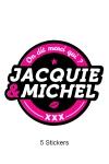 Pack 5 stickers J&M n°2 - Pack de 5 Stickers noirs Jacquie & Michel  (dimensions 8.1 x 7 cm) à coller où vous voulez.