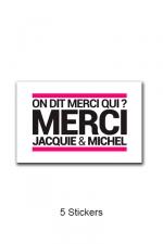Pack 5 stickers J&M n°3 - Pack de 5 Stickers blancs Jacquie & Michel  (dimensions 5 x 3.3 cm) à coller où vous voulez.