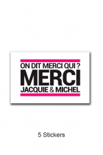 Pack 5 stickers J&M n°3 - Pack de 5 Stickers blancs Jacquie & Michel  (dimensions 5 x 3.3 cm) à coller où vous voulez.